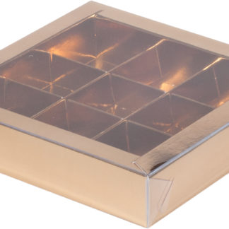 Коробка для конфет на 9шт с крышкой ЗОЛОТО, 155х155х30
