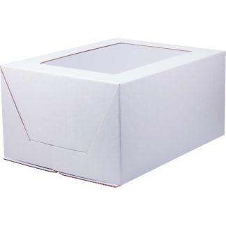 Коробка под торт с окном сборка-конверт, гофрокартон