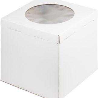 Коробка для торта С ОКНОМ белая, гофрокартон