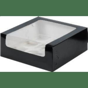 Коробка для 9 капкейков с увеличенным окошком с ложементом ЧЕРНАЯ, 235х235х110