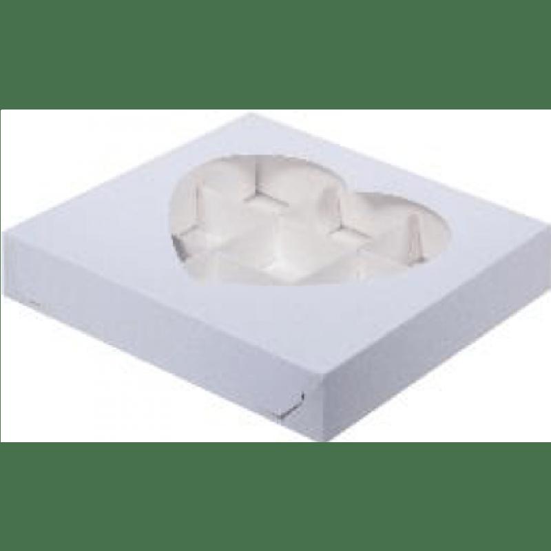 Коробка для конфет на 9шт С ОКОШКОМ В ВИДЕ СЕРДЦА БЕЛАЯ, 160х160х30