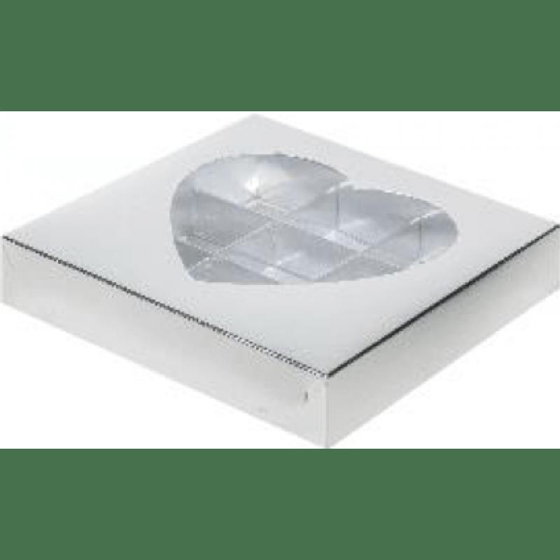 Коробка для конфет на 9шт С ОКОШКОМ В ВИДЕ СЕРДЦА СЕРЕБРО, 160х160х30