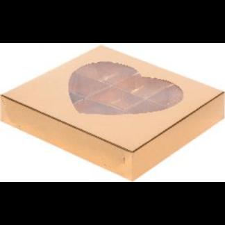 Коробка для конфет на 9шт С ОКОШКОМ В ВИДЕ СЕРДЦА ЗОЛОТО, 160х160х30
