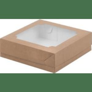 Коробка для зефира с окном, крафт