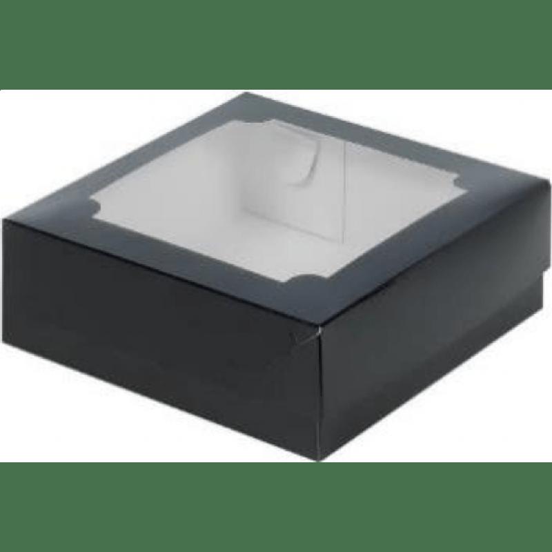 Коробка для зефира с окном, черная