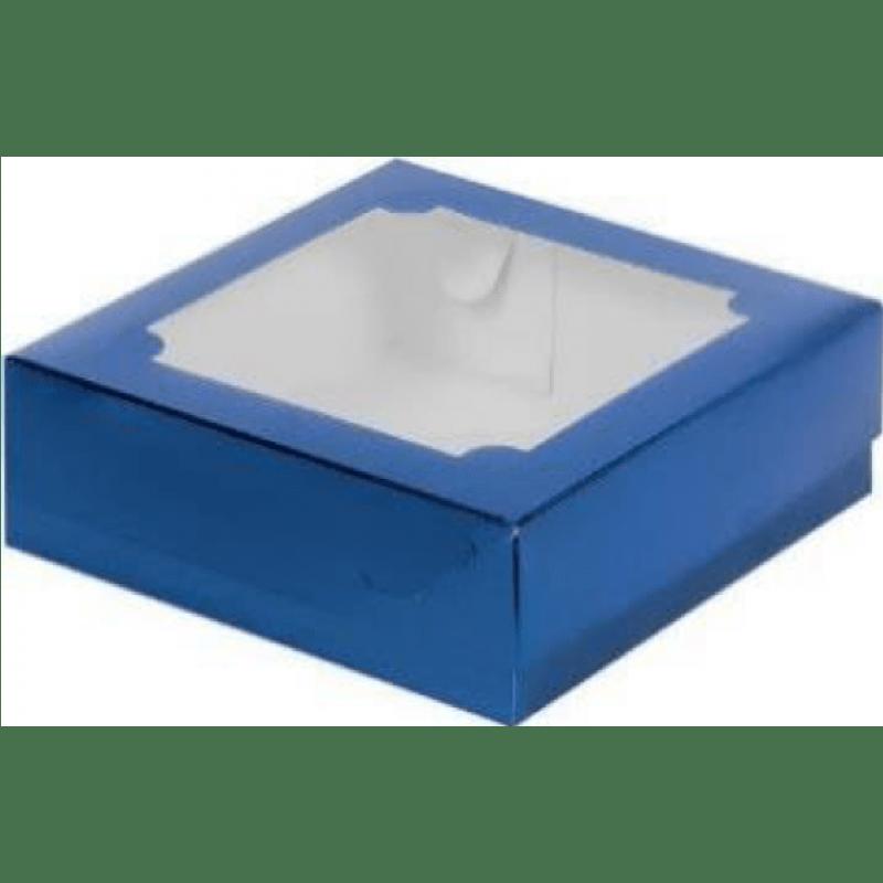 Коробка для зефира с окном, синяя