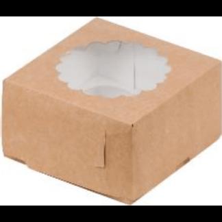 Коробка КРАФТ для 4-х капкейков с ложементом, 160х160х100