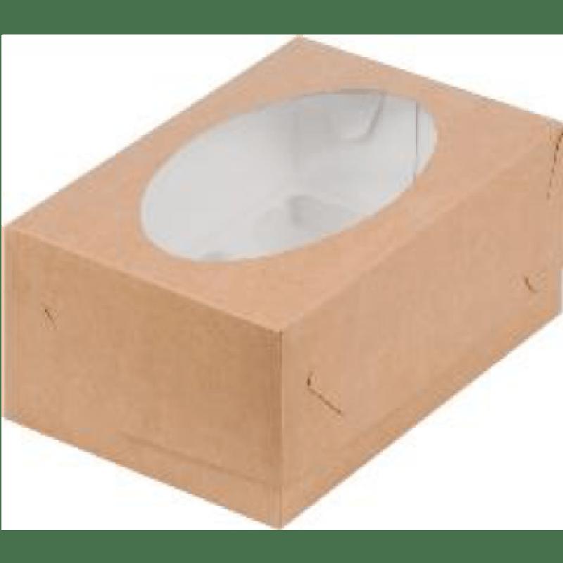 Коробка КРАФТ для 6 капкейков с ложементом, 235х160х100