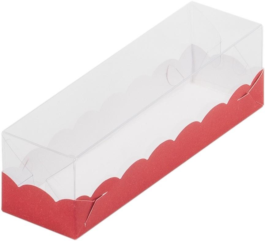 Коробка для макарон с пластиковой крышкой, 190х55х55 КРАСНАЯ