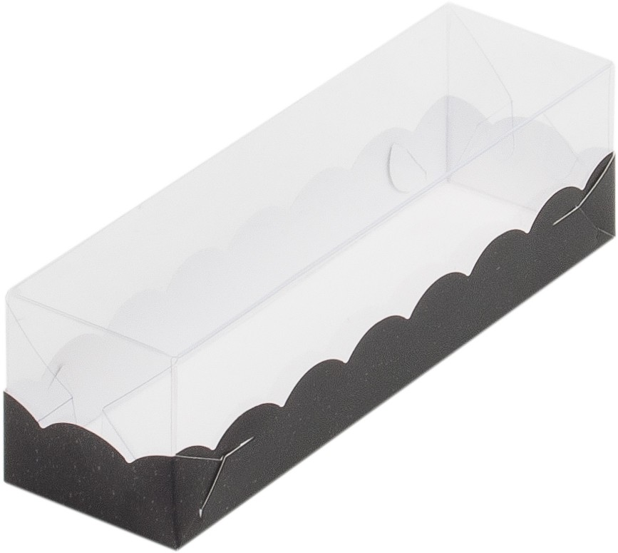 Коробка для макарон с пластиковой крышкой, 190х55х55 ЧЕРНАЯ