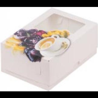 Коробка для тортов и пирожных с печатью ЧАЙНАЯ РОЗА, 190x130x75