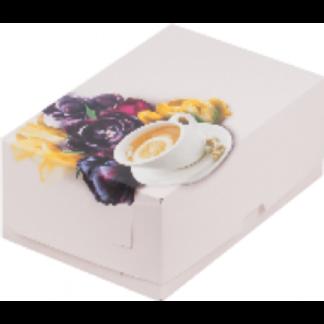 Коробка для тортов и пирожных с печатью ЧАЙНАЯ РОЗА, БЕЗ ОКНА 190x130x75