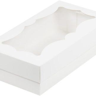 Коробка для кондитерских изделий с фигурным окном, 210х100х55 БЕЛАЯ