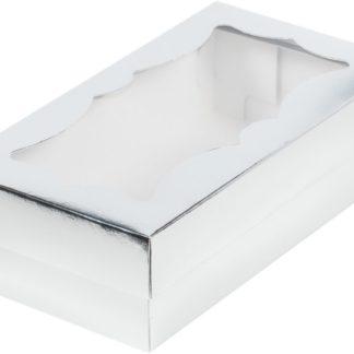 Коробка для кондитерских изделий с фигурным окошком, 210х100х55 СЕРЕБРО
