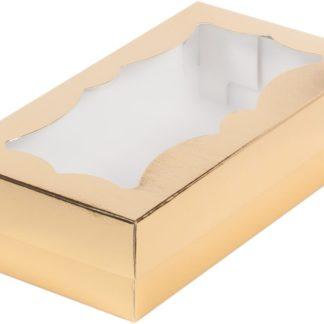 Коробка для кондитерских изделий с фигурным окном, 210х100х55 ЗОЛОТО