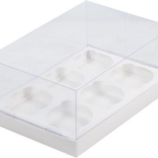 Коробка для 6 капкейков ПРЕМИУМ С ПЛАСТИКОВОЙ КРЫШКОЙ БЕЛАЯ, 235х160х100