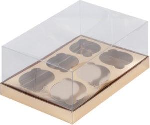 Коробка для 6 капкейков ПРЕМИУМ С ПЛАСТИКОВОЙ КРЫШКОЙ ЗОЛОТО, 235х160х100