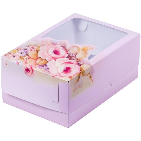 Коробка для тортов и пирожных с печатью РОЗА