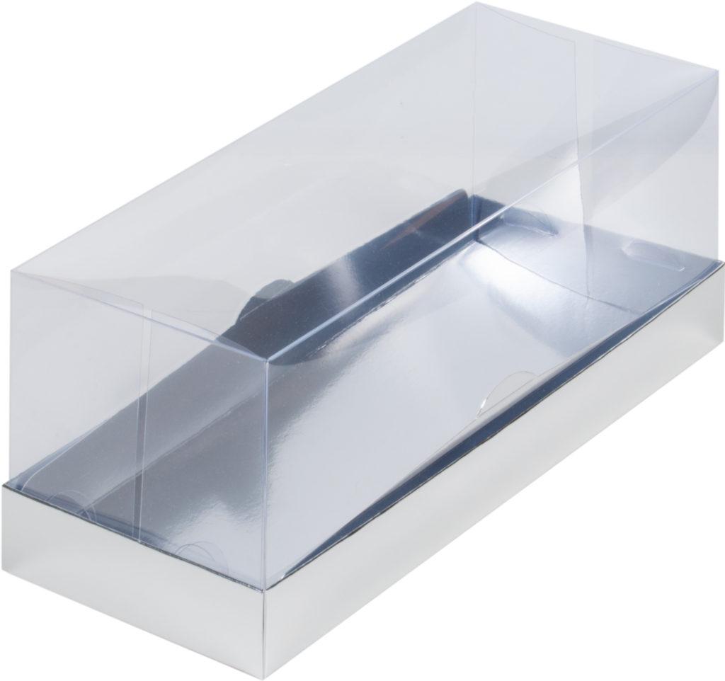 Коробка для рулета ПРЕМИУМ с пластиковой крышкой, 300х120х120 СЕРЕБРО