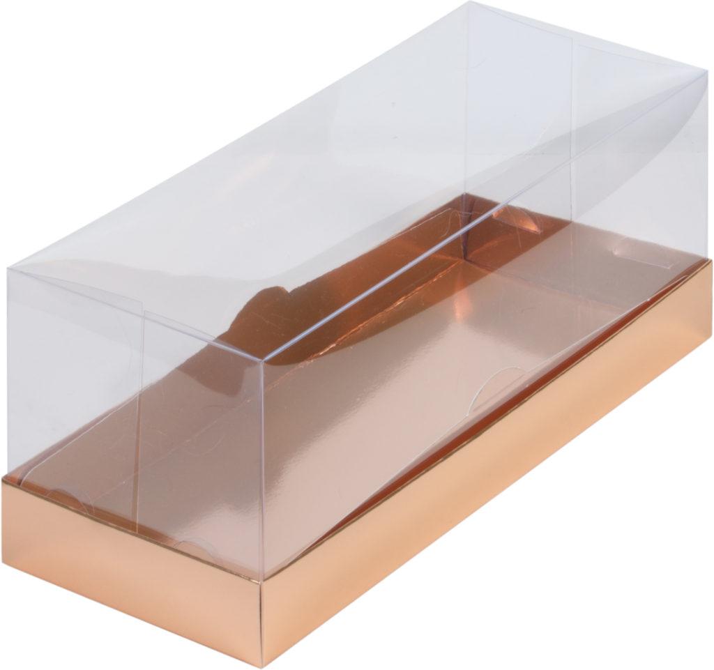 Коробка для рулета ПРЕМИУМ с пластиковой крышкой, 300х120х120 ЗОЛОТО