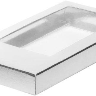 Коробка для шоколадной плитки 160*80*17 крышка- дно СЕРЕБРО