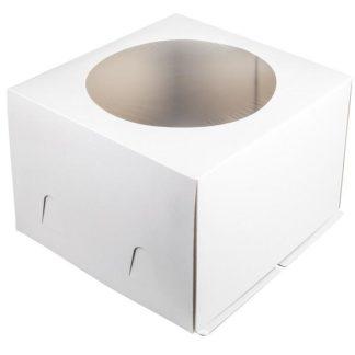 Коробка для тортов БЕЛАЯ с окном хром-эрзац