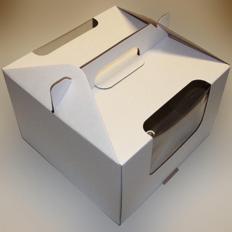 Белая коробка для торта, гофрокартон - 305х305х205