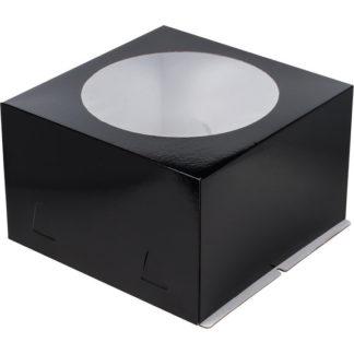 Коробка для тортов ЧЕРНАЯ с окном хром-эрзац