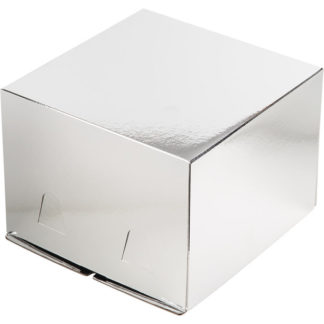 Коробка для тортов СЕРЕБРО без окна хром-эрзац