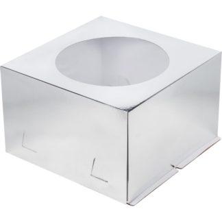 Коробка для тортов СЕРЕБРО с окном хром-эрзац