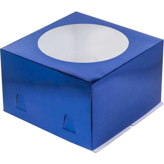 Коробка для тортов СИНЯЯ с окном хром-эрзац