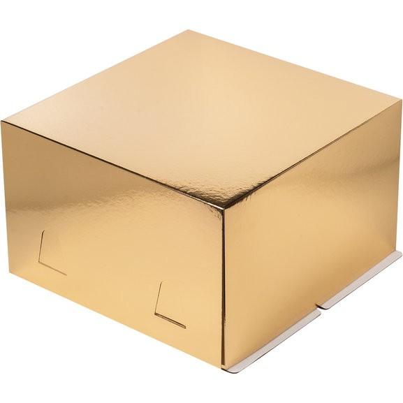 Коробка для тортов ЗОЛОТО без окна хром-эрзац