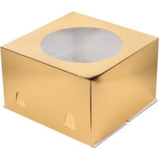 Коробка для тортов ЗОЛОТО с окном хром-эрзац