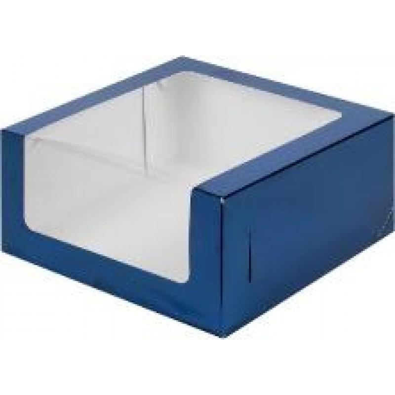 Коробка для торта с увеличенным окошком хром-эрзац в ассортименте, 235х235х110