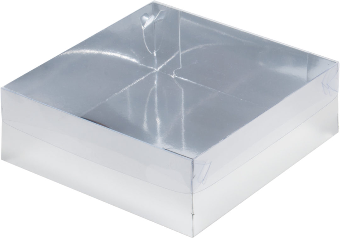 Коробка для зефира премиум с пластиковой крышкой, серебро