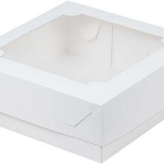 Коробка для зефира, тортов и пирожных с окном БЕЛАЯ
