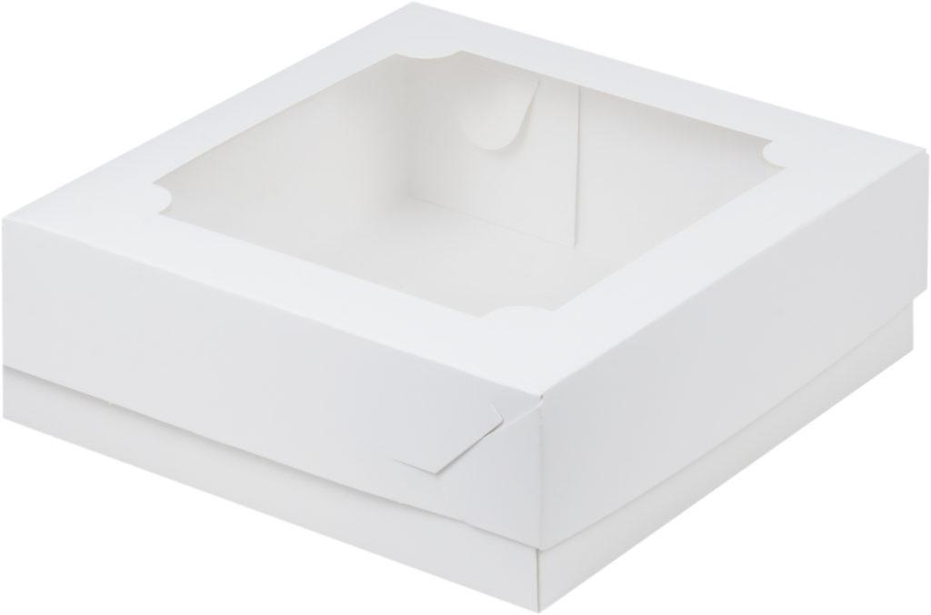 Коробка для зефира с окном, белая