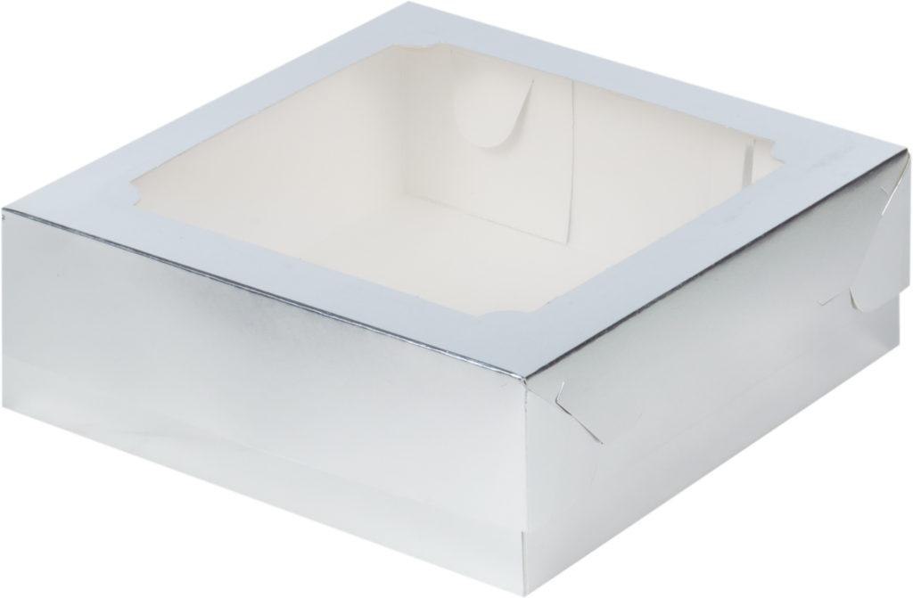 Коробка для зефира, тортов и пирожных с окном СЕРЕБРО
