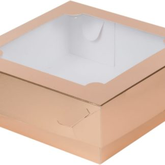 Коробка для зефира, тортов и пирожных с окном ЗОЛОТО