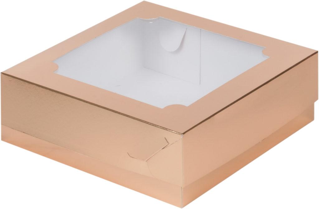 Коробка для зефира с окном, золото