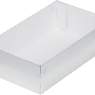 Коробка для зефира, тортов и пирожных С ПЛАСТИКОВОЙ КРЫШКОЙ СЕРЕБРО