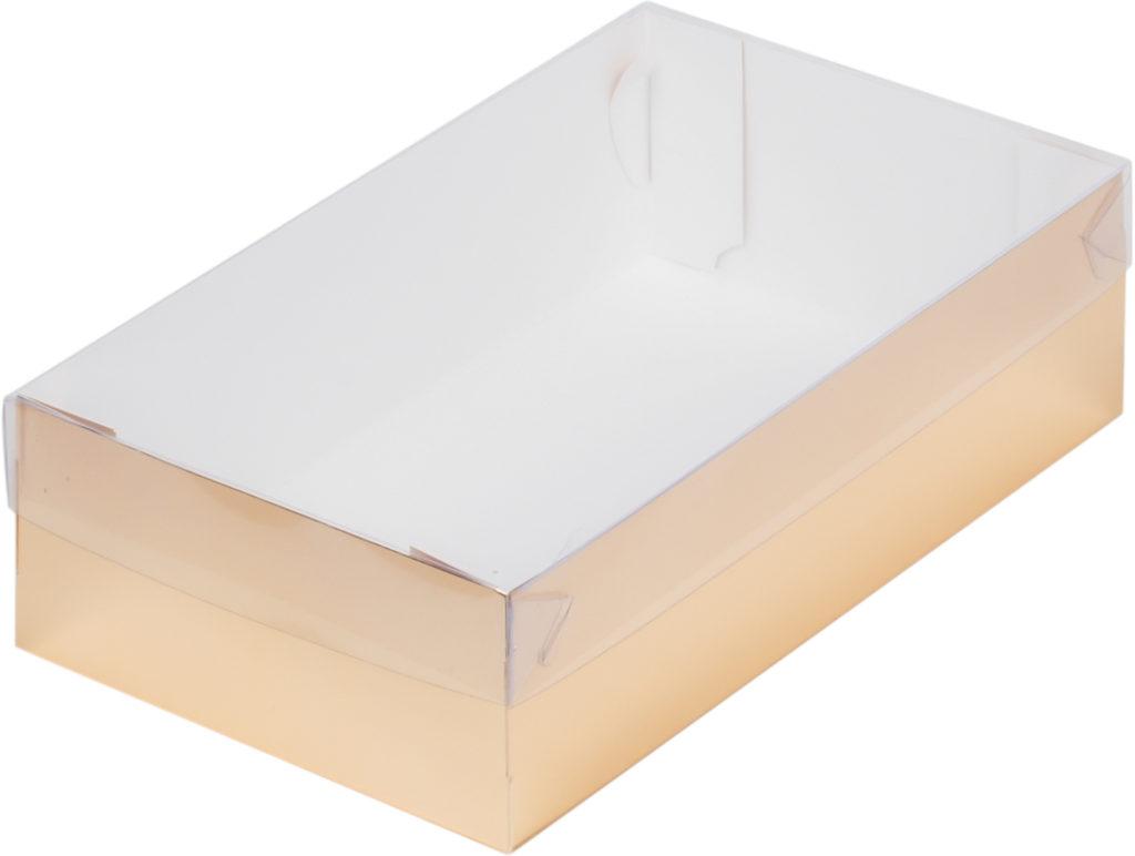 Коробка для зефира, тортов и пирожных С ПЛАСТИКОВОЙ КРЫШКОЙ ЗОЛОТО