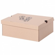 Бурая обувная коробка №75/1 «Следы», 300*240*120 мм