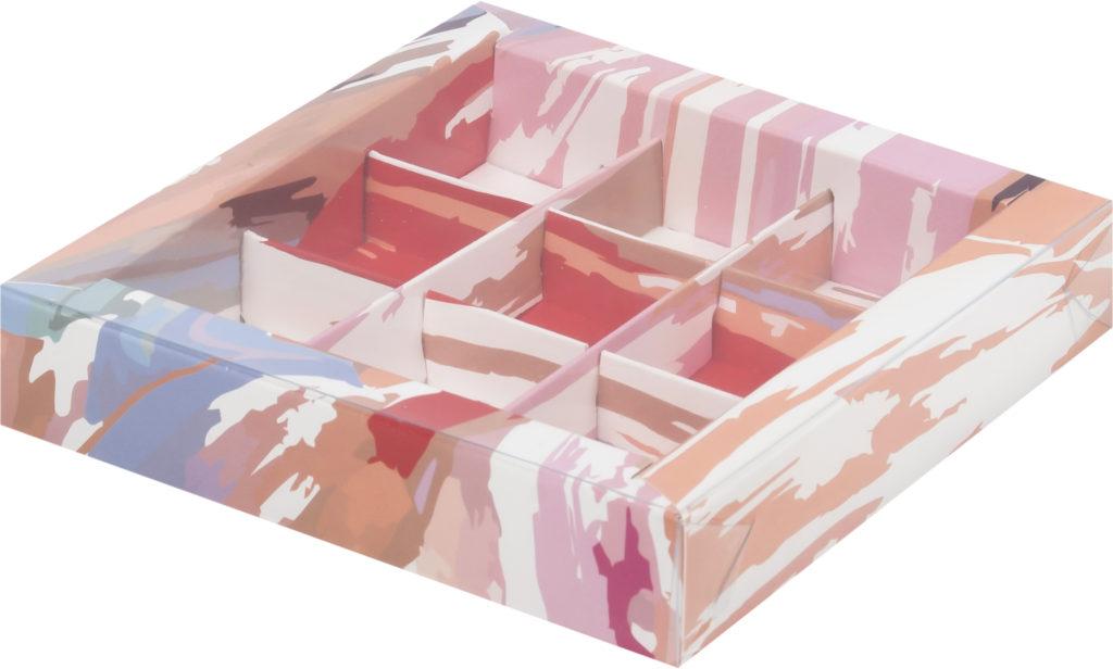 Коробка для конфет на 9шт с печатью светлая акварель, 155х155х30