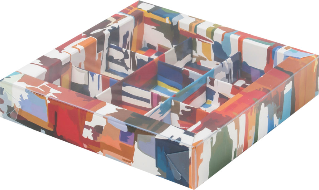 Коробка для конфет на 9шт с печатью темная акварель, 155х155х30