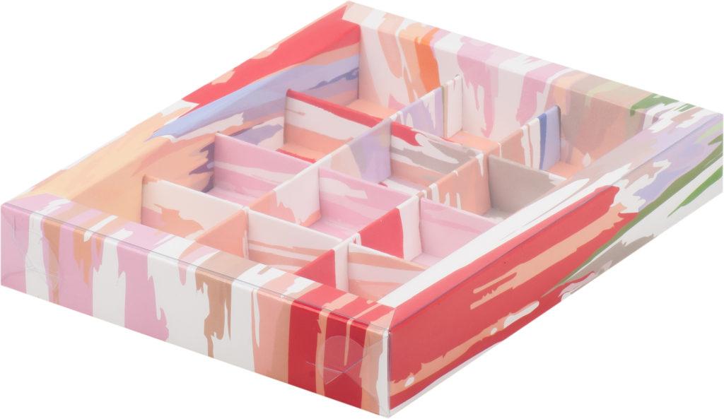 Коробка для конфет на 12шт с печатью светлая акварель, 190х150х30