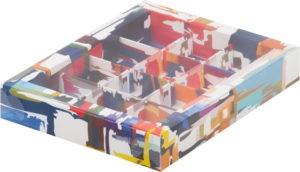 Коробка для конфет на 12шт с печатью темная акварель, 190х150х30