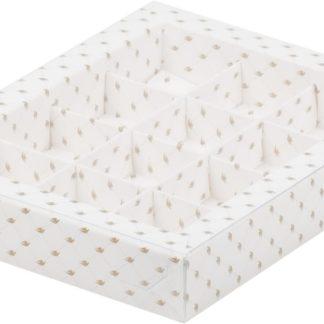 Коробка для конфет на 12шт с пластиковой прозрачной крышкой печать с узором, 190х150х30