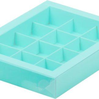 Коробка для конфет на 12шт с пластиковой прозрачной крышкой БИРЮЗОВАЯ, 190х150х30