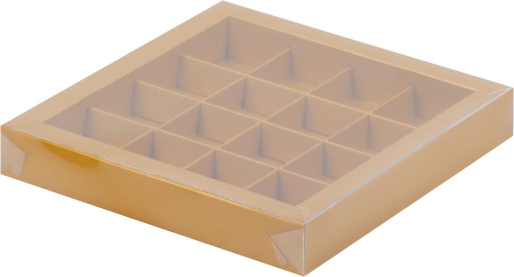 Коробка для конфет на 16шт с крышкой МАТОВОЕ ЗОЛОТО, 200х200х30